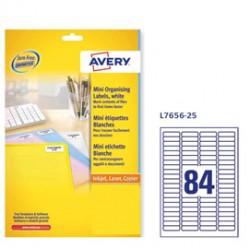 Etichette adesive L7656 bianche 25fg A4 46x11,1mm (80et/fg) inkjet/laser Avery - Conf da 5 pz.