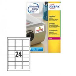Poliestere adesivo L6141 trasparente 20fg A4 63,5x33,9mm (24et/fg) laser Avery