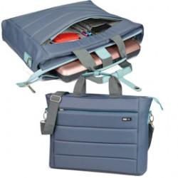 Cartella City Time in nylon 42x33x10cm grigio/azzurro Niji