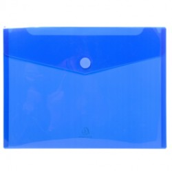 Busta a tasca con velcro in pp blu trasparente f.to 24x32cm per A4 Exacompta - Conf da 5 pz.