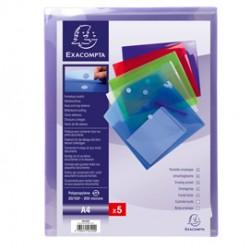 Busta a tasca con velcro in pp colorato f.to 24x32cm per A4 Exacompta - Conf da 5 pz.
