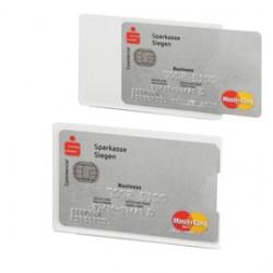 Tasca porta carte di credito argento trasp. 54x87mm RFID Secure Durable - Conf da 3 pz.