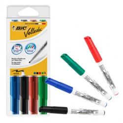 Astuccio 4 pennarelli VELLEDA 1741 punta tonda whiteboard colori assortiti BIC