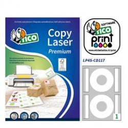 Etichetta adesiva LP4S bianca coprente A4 25fg CD 117mm (2et/fg) laser Tico