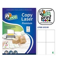 Etichetta adesiva LP4W bianca 100fg A4 105x148mm (4et/fg) Laser Tico