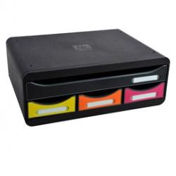 Cassettiera Toolbox 4 cassetti nero/arlecchino Exacompta