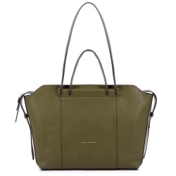 SHOPPING BAG IN PELLE    VERDE