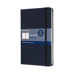TACCUINO DENIM L A RIGHE PRUSSIAN BLUE MOLESKINE