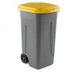 Bidone mobile 100Lt grigio c/coperchio giallo per raccolta differenziata