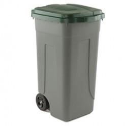 Bidone mobile 100Lt grigio c/coperchio verde per raccolta differenziata
