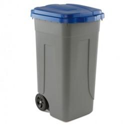 Bidone mobile 100Lt grigio c/coperchio blu per raccolta differenziata