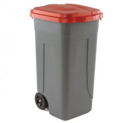 Bidone mobile 100Lt grigio c/coperchio rosso per raccolta differenziata