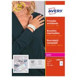 Braccialetti identificativi Bianco 5fg A4 265x18mm (10et/fg) laser Avery