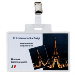 100 PORTANOME PASS 4E 11X7CM CON CLIP IN METALLO