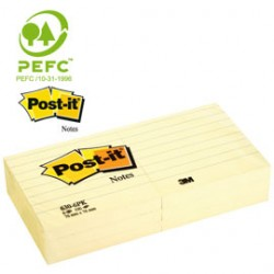 BLOCCO 100fg Post-it 76x127mm GIALLO A RIGHE 635