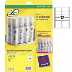 ETICHETTE IN POLIESTERE BIANCO 99,1X42,3mm 12et/fg LASER L4776-20FG AVERY