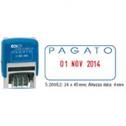 TIMBRO DATARIO + PAGATO S260/L2 AUTOINCHIOSTRANTE COLOP