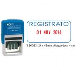 TIMBRO DATARIO + REGISTRATO S260/L3 AUTOINC.COLOP BLISTER