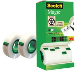 MULTI-PACK 12+2 ROTOLI SFUSI DI NASTRO SCOTCH MAGIC 810 PERM. 19MMX33MT