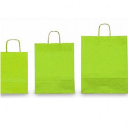 25 SHOPPERS CARTA KRAFT 22x10x29cm TWISTED verde acido