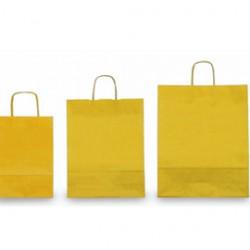 25 SHOPPERS CARTA KRAFT 26x11x34,5cm TWISTED giallo