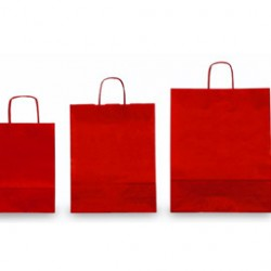 25 SHOPPERS CARTA KRAFT 26x11x34,5cm TWISTED rosso