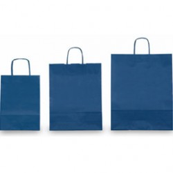 25 SHOPPERS CARTA KRAFT 26x11x34,5cm TWISTED blu