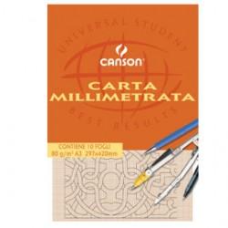 BLOCCO CARTA OPACA MILLIMETRATA 297x420mm 10FG 80GR CANSON