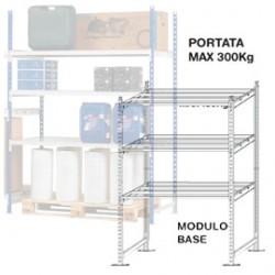 SCAFFALE 3 RIPIANI IN METALLO 100x60cm - H200cm KIT INIZIALE
