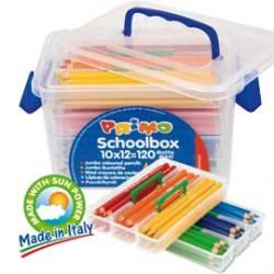 SCHOOLBOX 120 PASTELLI COLORATI LACCATI MAXI in 12 colori CMP
