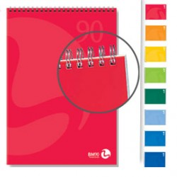 BLOCCO NOTES SPIRALATO lato corto 210x297mm 90gr 50fg 5mm COLOR BM
