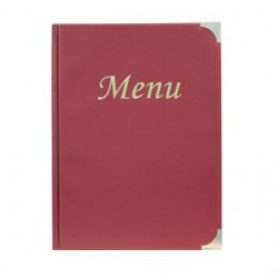 PORTA MENU A4-24x34cm BORDEAUX in PVC BASIC con 4+2 BUSTE FISSE