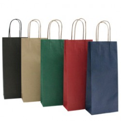 20 SHOPPERS CARTA BIOKRAFT 16X8X38CM PORTABOTTIGLIE NERO