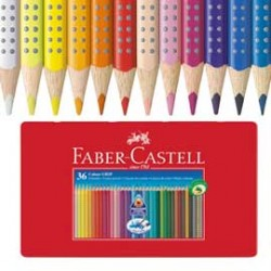 ASTUCCIO metallo 36 PASTELLI COLORATI ACQUERELLABILI Color Grip FABER CASTELL