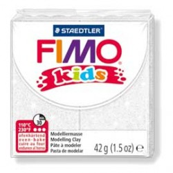 PASTA POLIMERICA FIMO KIDS 42gr BIANCO GLITTER 052