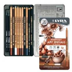 ASTUCCIO METALLO assortimento 12 matite REMBRANT ART SPECIAL SCHIZZO LYRA