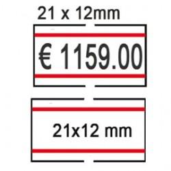 PACK 10 ROTOLI 1000 ETICH. 21x12mm BIANCO PERM. con RIGHE ROSSE Printex