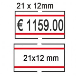 PACK 10 ROTOLI 1000 ETICH. 21x12mm BIANCO REMOV. con RIGHE ROSSE Printex