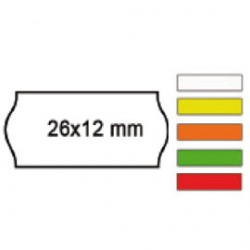 PACK 10 ROTOLI 1000 ETICH. 26x12mm ONDA ARANCIO PERM. Printex