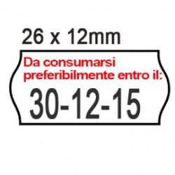 PACK 10 ROTOLI 1000 ETICH. 26x12mm ONDA  BIANCO PERM. Printex