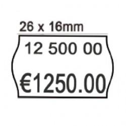 PACK 10 ROTOLI 1000 ETICH. 26x16mm ONDA BIANCO PERM. Printex