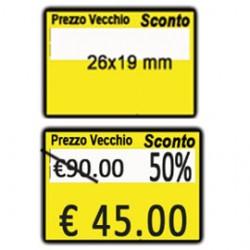 PACK 10 ROTOLI 600 ETICH. 26x19mm  GIALLO PERM. Printex