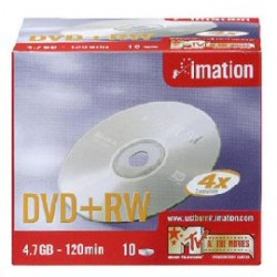 SCATOLA 10 DVD+RW 4X 4.7GB 2ORE SERIGRAFATO