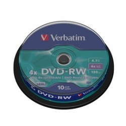 SCATOLA 10 DVD-RW SPINDLE 4X 4.7GB 120MIN. SERIGRAFATO