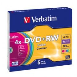 SCATOLA 5 DVD+RW SLIM 4X 4.7GB 120MIN. COLORE