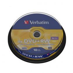 SCATOLA 10 DVD+RW SPINDLE 4X 4.7GB 120MIN.