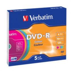 SCATOLA 5 DVD-R SLIM CASE 16X 4.7GB 120MIN. SERIGRAFATO COLORATO