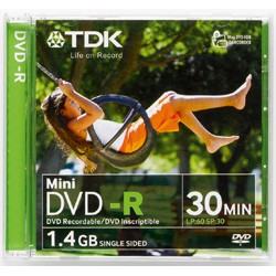 MINI DVD-R TDK CM.8      CAP. 1,4 GB 30 MIN.