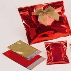 50 BUSTE REGALO IN PPL METAL LUCIDO 20x35+5cm ROSSO con patella adesiva