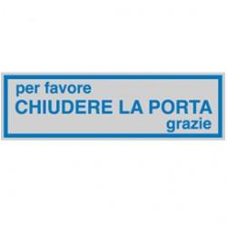 TARGHETTA ADESIVA 165x50mm CHIUDERE LA PORTA - Conf da 10 pz.
